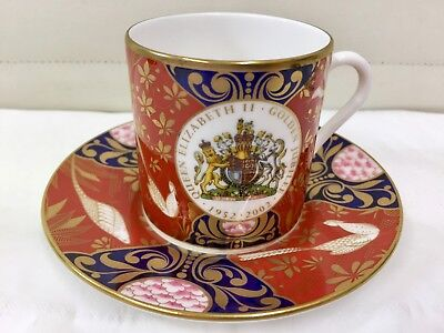 Royal Worcester Coffee Cup And Saucer Commemorative Queen Elizabeth • 30£
