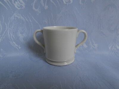 ROYAL WORCESTER EDWARDIAN C1905 ANTIQUE WHITE CHINA DOUBLE HANDLED MINIATURE CUP • 30£