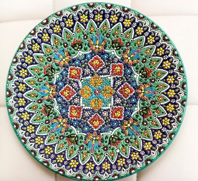 Handcrafted And Hand Painted Persian Enamel Glazed Ceramic Platter - Size 30cm • 40£