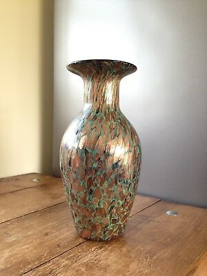 Lovely Large Marbled Gold Aventurine Type Glass Vase Monart Vasart Murano Style • 95£