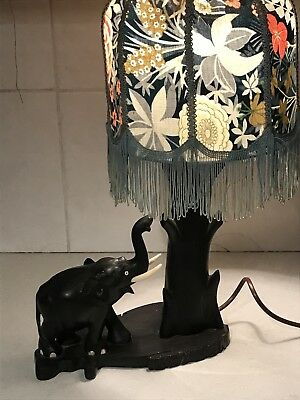 Vintage 1950's Black African Ceylon Table Lamp Elephant And Tree Retro Kitsch • 60£
