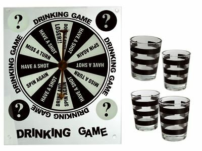 SPIN A DRINK SHOT GLASS DRINKING GAME ADULT STAG HEN PARTY  With 4 Glasses • 6.99£