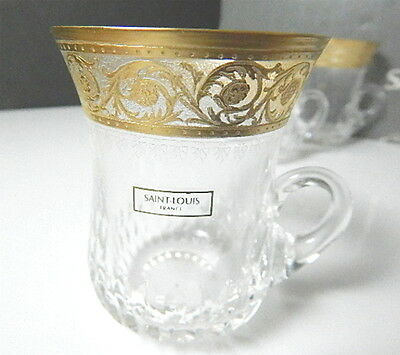 St Louis Crystal - France THISTLE Handled Tumbler/Cup(s), NEW W/Tags, RARE ! • 101.84£