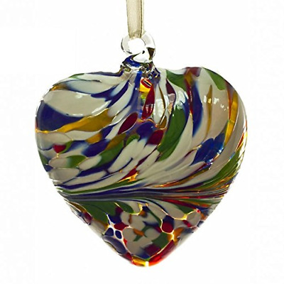 October Opal 8cm Birthstone Glass Heart By Amelia Glass - Gift Handmade - Orb • 12.99£