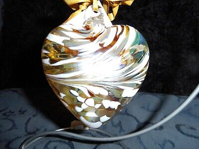 Glass Heart By Amelia Glass June Pearl 8cm Birthstone - Gift Handmade - Stunning • 12.99£