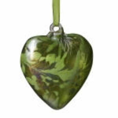 August Peridot 8cm Birthstone Glass Heart By Amelia Glass - Gift Handmade • 12.99£