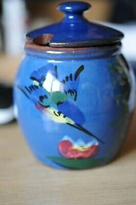 Torquay Lidded Pot In Blue With Kingfisher • 26£