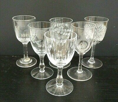 6 Mismatched Antique & Vintage Sherry Glasses - Engraved, Cut, Etched • 11.99£