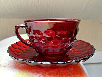 Rare 1964 American Anchor Hocking Royal Ruby Red Bubble Glass 6 Cups & Saucers • 40£