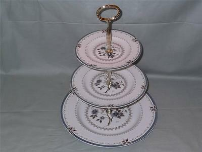 Royal Doulton Old Colony 3-Tier China Hostess Cake Plate Stand TC1005 (Worn) • 20£