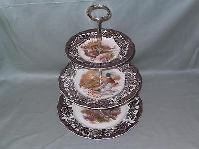Royal Worcester Palissy Game Series 3-Tier Hostess Cake Stand (V2) • 29.99£