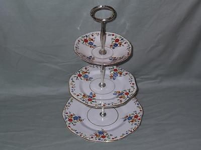 Vintage Sutherland China Carnival 3-Tier Hostess Cake Plate Stand Patt. No.1318 • 29.95£