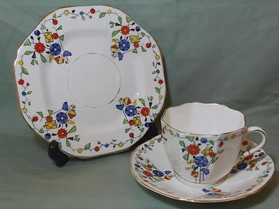 Vintage Sutherland China Carnival Trio Tea Cup Saucer & Side Plate Patt. No.1318 • 14.99£