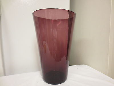 Older Huge 12 1/2  Amethyst Hand Made Art Glass Vase-Very Heavy • 11.09£