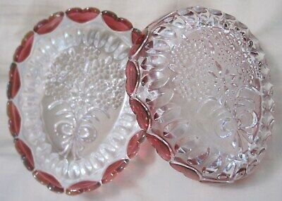 NESTING OVAL EGG-SHAPED GLASS CANDY DISH W/ HEARTS • 14.62£