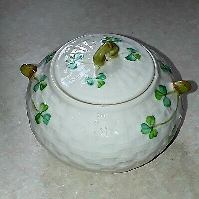 Belleek  China    ~  Sugar Bowl With Lid   ~  Shamrocks  Blue Mark - Perfect • 17.50£