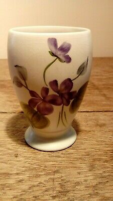 Small Vintage Handpainted Pottery Vase Decorated With Flowers. Probably Radford • 8£