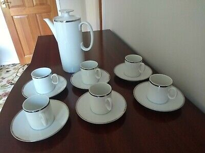 Thomas Germany Coffee Pot, Cups And Saucers With Narrow Silver Band • 27.99£