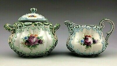 Antique Nippon Heavy Beaded Moriage Hand Painted Sugar Bowl And Creamer • 116.44£