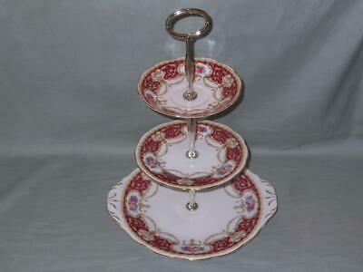 Queen Anne  Regency  Bone China 3-Tier Hostess Cake Plate Stand Red & Gilt • 24.95£