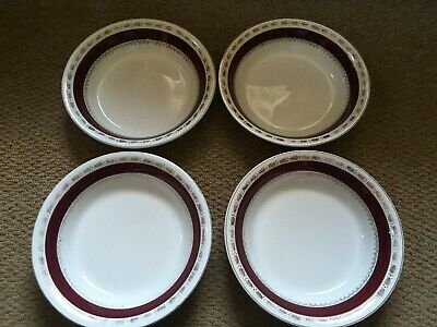 Pottery Crown Ducal - Warwick, Burgundy Band, Gilded Edge, Vintage Desert Bowls • 15£