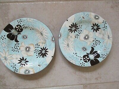 Two New LAURIE GATES Aqua Blue & Brown Flora China Plates  • 19.99£