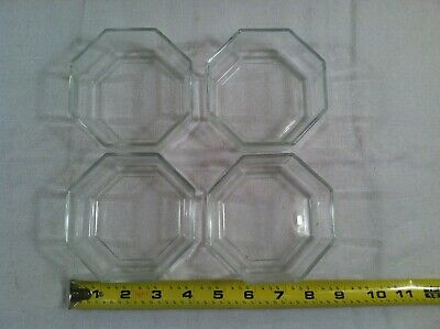 (4) Arcoroc Bowls France Clear Glass Octagon 8 Sides Approx. 4  Diameter • 20.97£