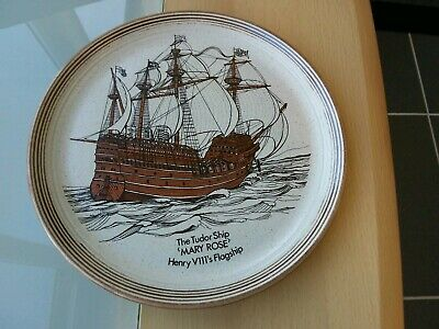 Vintage Heavy Stoneware Purbeck Pottery Mary Rose Ship Collectors Plate • 7.50£