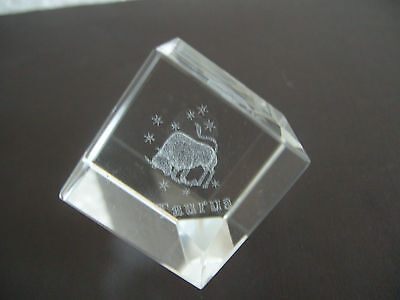 Taurus Star Sign Laser Crystal Cube • 7.99£