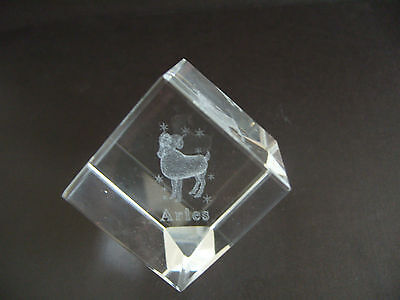 Aries Star Sign Laser Crystal Cube • 7.99£