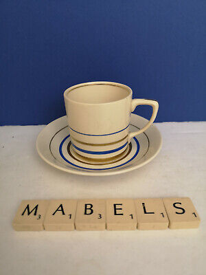 GRAY'S POTTERY ~BLUE & GOLD PAINTED BANDS~ Coffee Cup & Saucer C.1930's A5061E • 14.99£