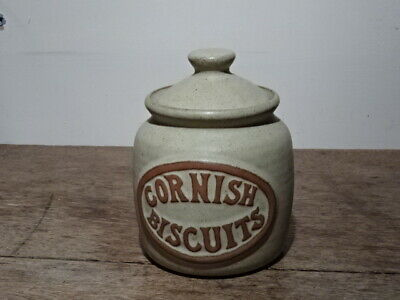 Vintage Cornish Pottery Cornish Biscuits Barrel, With Lid. No Maker's Mark • 20£