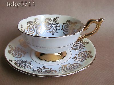 Foley E Brain Cabinet Cup & Saucer Two Tone Decoration With Flowers & Gilt • 17.50£