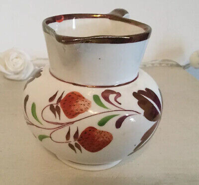 Vintage Grays Pottery Creamer Jug Strawberries Gold Lustre- 8cm Tall • 16£