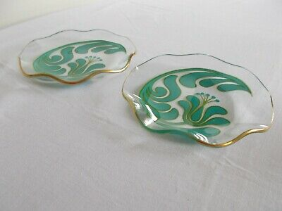 Vintage Chance Glass Canterbury Blue Small Swirl Dishes   • 8.50£