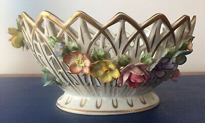 Large Dresden Floral Encrusted Basket Form Vase • 62£