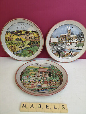 PURBECK POTTERY ~SEASONS~ Picture Tea Plates X 3 • 12.99£