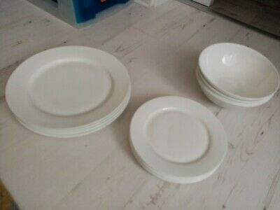 16x Dinner Table Plates Set, By Unknown New,white • 25£