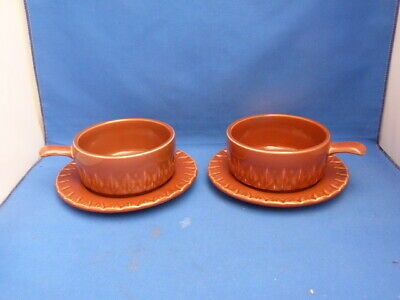 2 Collectable Vintage Retro Brown Holkham Soup Bowls & Matching Saucers • 14.99£