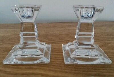 IRENA 24% LEAD CRYSTAL CANDLESTICK HOLDERS X 2 • 10£