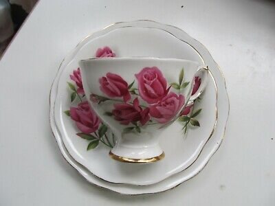 ROYAL STANDARD Fine Bone China PORCELAIN CUP , SAUCER AND SIDE PLATE--ROSES • 25.50£
