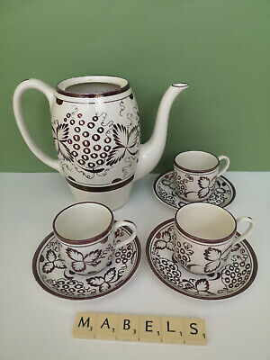 GRAY'S POTTERY ~HAND PAINTED PURPLE LUSTRE A4589~ Part Coffee Set • 19.99£