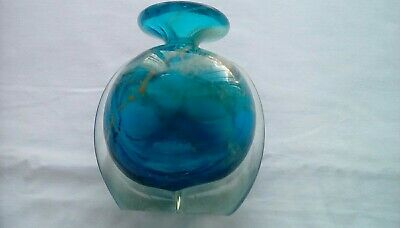 Mdina Art Glass Vase ,sea And Sand .4 Inches Tall. • 15.70£