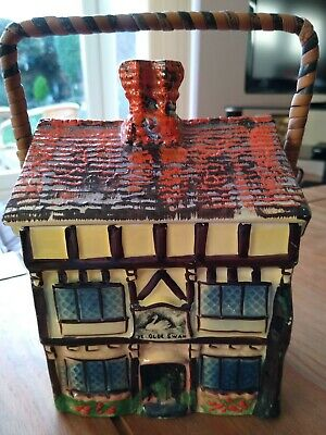 Ye Olde Inne Handpainted Cottage Ware Biscuit Barrel - Very Good Condition • 15£