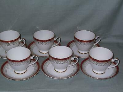 6 Royal Grafton Majestic Red Tea Cups & Saucers • 12£