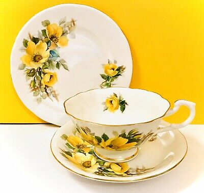 Royal Standard Tea Cup Trio  -Cup, Saucer & Plate -Yellow Wild Rose • 13£