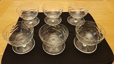 Cut Crystal Glass Sundae/Dessert Coupe Dishes - Set Of 6 Vgc No Chips Or Scratch • 19£