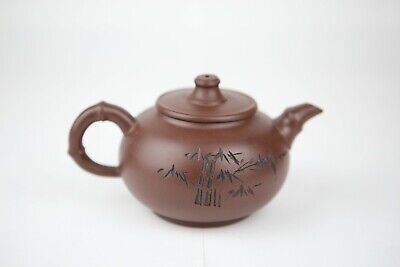 Chinese Yixing Zisha Teapot Carved Bamboo And Poem Marked In Base 陈再忠制 • 109£