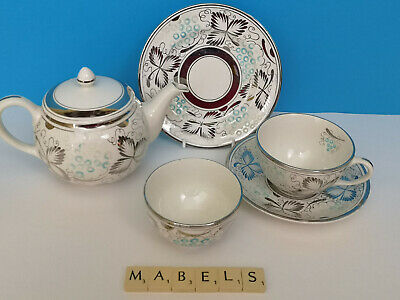 GRAY'S POTTERY ~HAND PAINTED SILVER LUSTRE A8486~ Part Tea Set • 19.99£