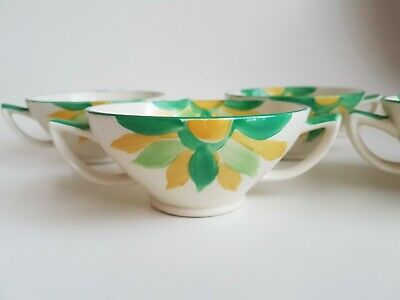 Vintage Myott Pottery Twin Handled Cups Hand Painted Flowers Art Deco 1930s • 25£